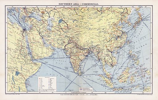 Southern Asia, commercial. Illustration for An Atlas of Commercial Geography compiled by Fawcett Allen (Cambridge, 1913).