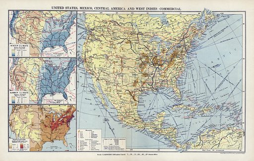 United States, Mexico, Central America and West Indies, commercial. Illustration for An Atlas of Commercial Geography compiled by Fawcett Allen (Cambridge, 1913).