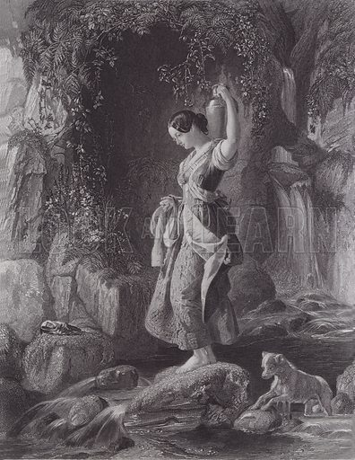 The Nymph of the Waterfall. Illustration for Pictures by Daniel Maclise (Virtue, c 1885).