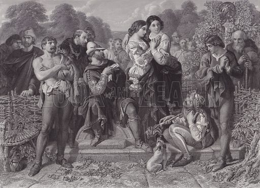 "Orlando and the Wrestler, ""As You Like It"". Illustration for Pictures by Daniel Maclise (Virtue, c 1885)."