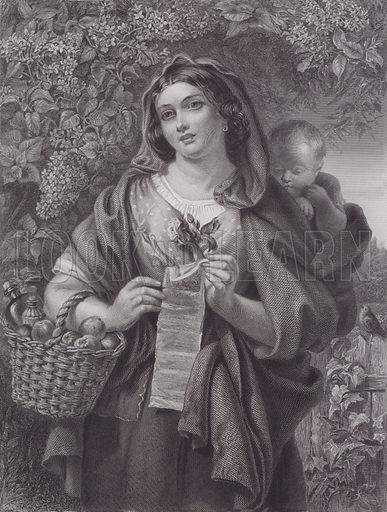 The Ballad Singer. Illustration for Pictures by Daniel Maclise (Virtue, c 1885).