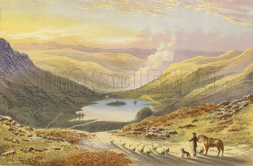 Rydal Water, from Loughrigg Terrace. Illustration for English Lake Scenery (John Walker, 1880).