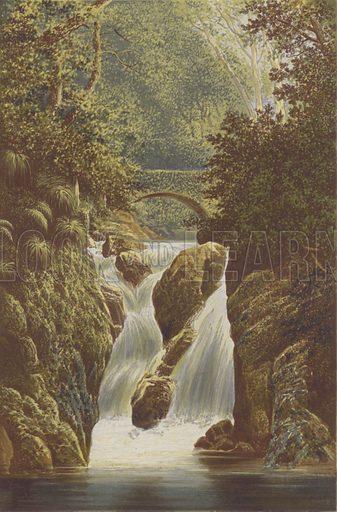 Rydal, Lower Fall. Illustration for English Lake Scenery (John Walker, 1880).