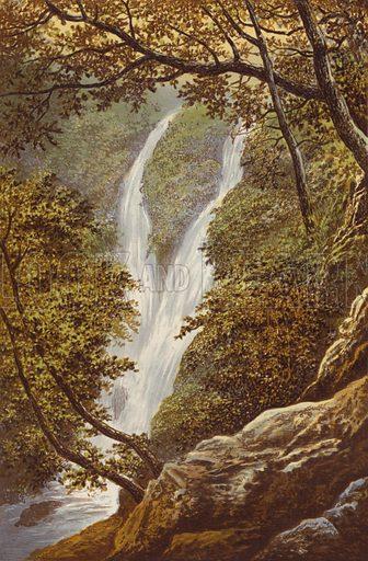Stock Gill Force. Illustration for English Lake Scenery (John Walker, 1880).