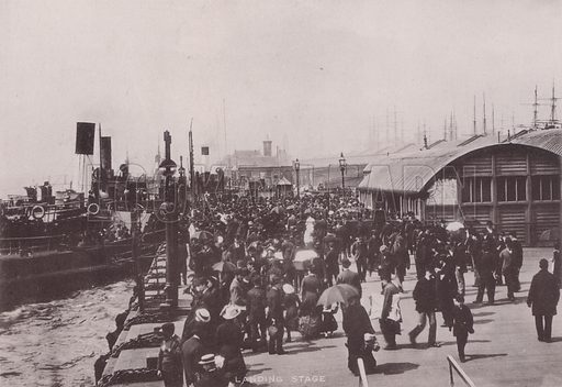 Landing Stage, Liverpool. Illustration for booklet of photographs on Liverpool (Friths, c 1895).