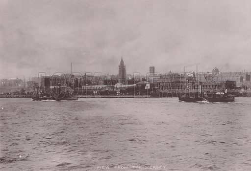 View from the Mersey, Liverpool. Illustration for booklet of photographs on Liverpool (Friths, c 1895).