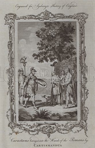 Caractacus betrayed into the Hands of the Romans by Cartismandua. Illustration for A New and Complete History of England by Temple Sydney (J Cooke, 1774).