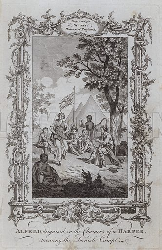 Alfred, disguised in the Character of a Harper, viewing the Danish Camp. Illustration for A New and Complete History of England by Temple Sydney (J Cooke, 1774).