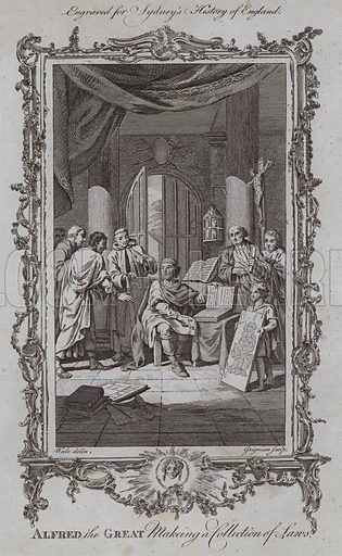 Alfred the Great Making a Collection of Laws. Illustration for A New and Complete History of England by Temple Sydney (J Cooke, 1774).
