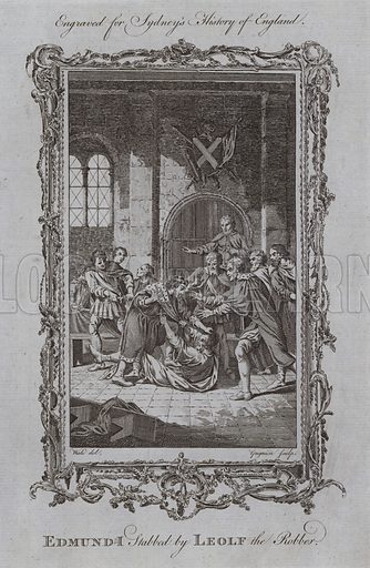 Edmund I Stabbed by Leolf the Robber. Illustration for A New and Complete History of England by Temple Sydney (J Cooke, 1774).