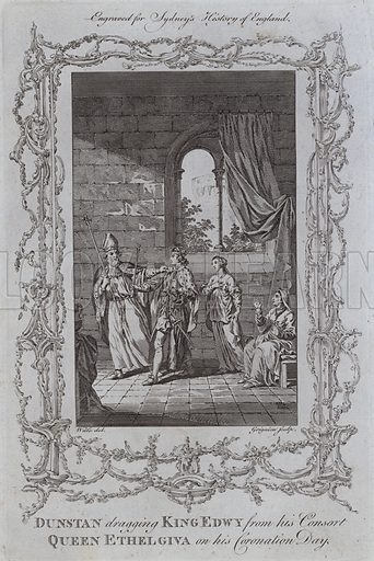 Dunstan dragging King Edwy from his Consort, Queen Ethelgiva on his Coronation Day. Illustration for A New and Complete History of England by Temple Sydney (J Cooke, 1774).