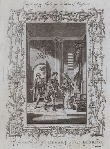 The first interview of Edgar and Elfrida. Illustration for A New and Complete History of England by Temple Sydney (J Cooke, 1774).