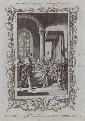 Henry II Serving the First Dish to his Son Henry's Table. Illustration for A New and Complete History of England by Temple Sydney (J Cooke, 1774).