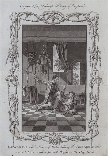 Edward I, while Prince of Wales killing the Assassin who wounded him with a poisoned Dagger, in the Holy Land. Illustration for A New and Complete History of England by Temple Sydney (J Cooke, 1774).