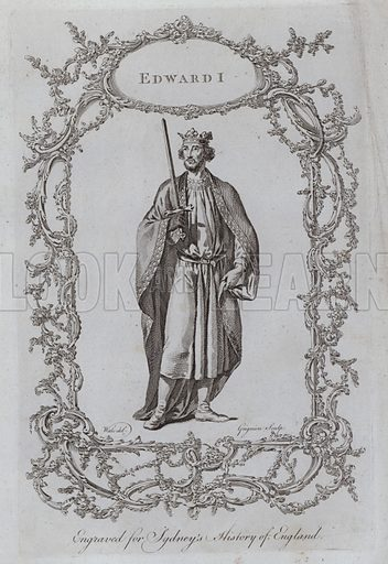 Edward I. Illustration for A New and Complete History of England by Temple Sydney (J Cooke, 1774).