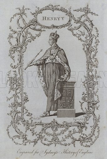 Henry V. Illustration for A New and Complete History of England by Temple Sydney (J Cooke, 1774).