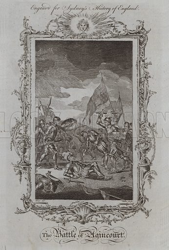 The Battle of Agincourt. Illustration for A New and Complete History of England by Temple Sydney (J Cooke, 1774).