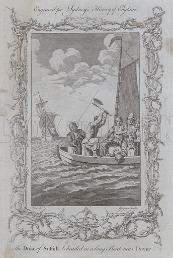 The Duke of Suffolk beheaded in a long Boat near Dover. Illustration for A New and Complete History of England by Temple Sydney (J Cooke, 1774).