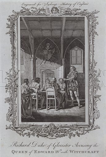 Richard Duke of Glocester Accusing the Queen of Edward IVth with Witchcraft. Illustration for A New and Complete History of England by Temple Sydney (J Cooke, 1774).