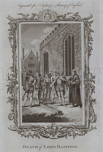 Death of Lord Hastings. Illustration for A New and Complete History of England by Temple Sydney (J Cooke, 1774).