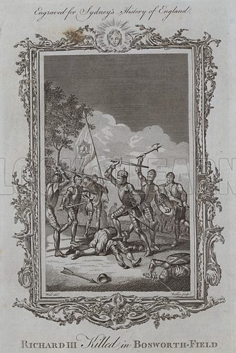 Richard III Killed in Bosworth-Field. Illustration for A New and Complete History of England by Temple Sydney (J Cooke, 1774).