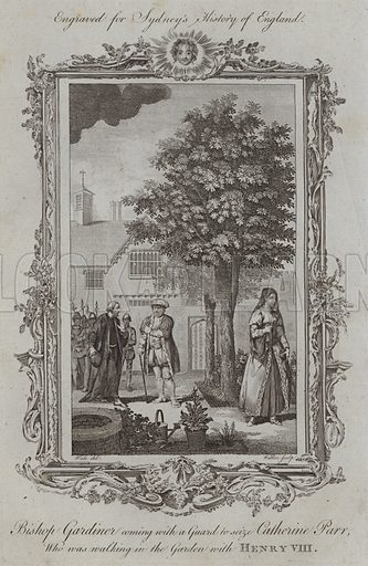 Bishop Gardiner coming with a Guard to seize Catherine Parr, who was walking in the Garden with Henry VIII. Illustration for A New and Complete History of England by Temple Sydney (J Cooke, 1774).