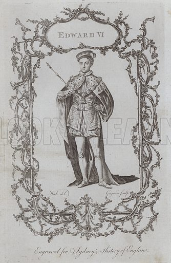 Edward VI. Illustration for A New and Complete History of England by Temple Sydney (J Cooke, 1774).