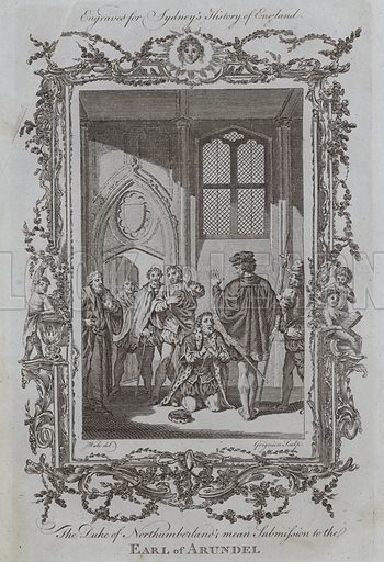The Duke of Northumberland's mean Submission to the Earl of Arundel. Illustration for A New and Complete History of England by Temple Sydney (J Cooke, 1774).