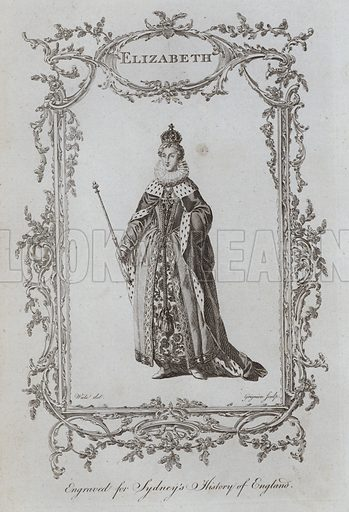 Elizabeth. Illustration for A New and Complete History of England by Temple Sydney (J Cooke, 1774).