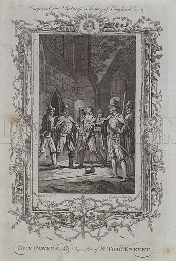 Guy Fawkes Seized by order of Sir Thomas Knevet. Illustration for A New and Complete History of England by Temple Sydney (J Cooke, 1774).