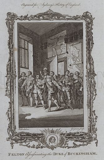 Felton assassinating the Duke of Buckingham. Illustration for A New and Complete History of England by Temple Sydney (J Cooke, 1774).
