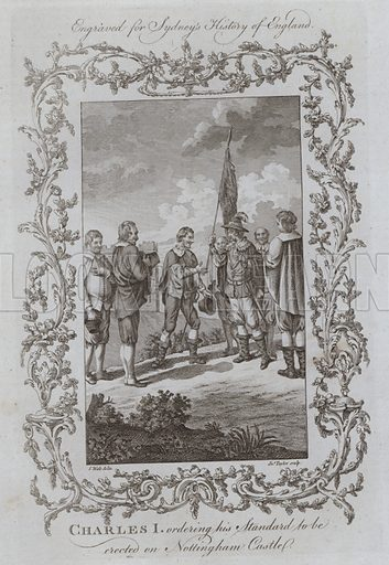 Charles I ordering his Standard to be erected on Nottingham Castle. Illustration for A New and Complete History of England by Temple Sydney (J Cooke, 1774).