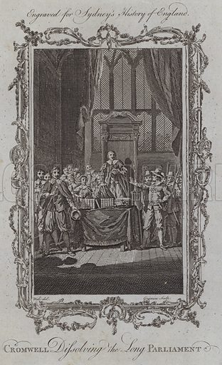 Cromwell Dissolving the Long Parliament. Illustration for A New and Complete History of England by Temple Sydney (J Cooke, 1774).