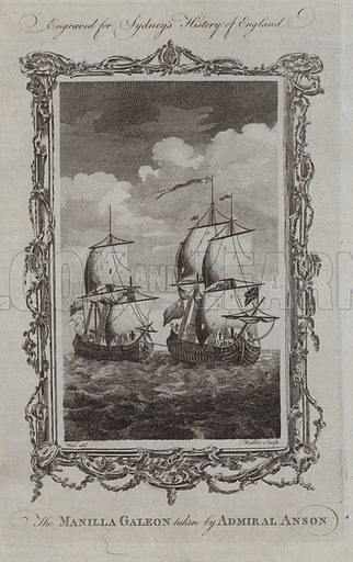 The Manilla Galeon taken by Admiral Anson. Illustration for A New and Complete History of England by Temple Sydney (J Cooke, 1774).