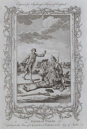 General Wolfe Expiring in the Arms of a Grenadier and Volunteer at the Siege of Quebec. Illustration for A New and Complete History of England by Temple Sydney (J Cooke, 1774).