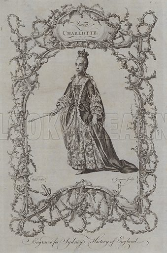 Queen Charlotte. Illustration for A New and Complete History of England by Temple Sydney (J Cooke, 1774).