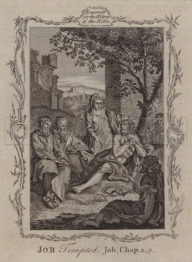 Job Tempted. Illustration for A New and Complete History of the Holy Bible by John Fleetwood (J Cooke, c 1770).