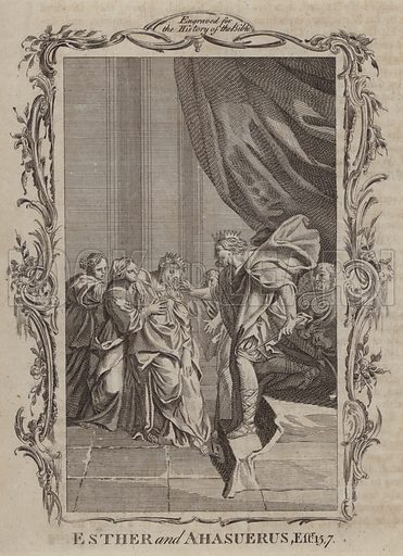 Esther and Ahasuerus. Illustration for A New and Complete History of the Holy Bible by John Fleetwood (J Cooke, c 1770).