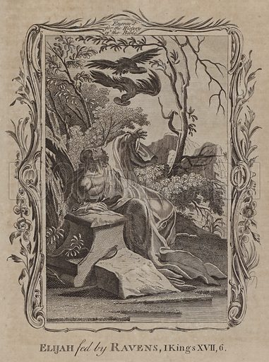 Elijah fed by Ravens. Illustration for A New and Complete History of the Holy Bible by John Fleetwood (J Cooke, c 1770).