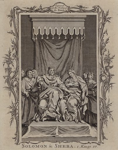 Solomon and Sheba. Illustration for A New and Complete History of the Holy Bible by John Fleetwood (J Cooke, c 1770).