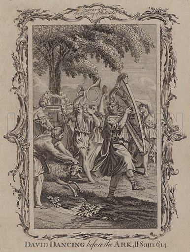 David Dancing before the Ark. Illustration for A New and Complete History of the Holy Bible by John Fleetwood (J Cooke, c 1770).