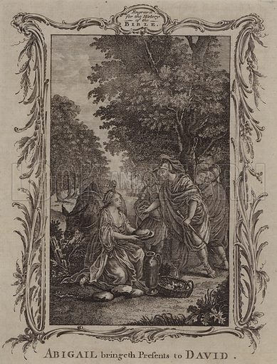 Abigail bringeth Presents to David. Illustration for A New and Complete History of the Holy Bible by John Fleetwood (J Cooke, c 1770).