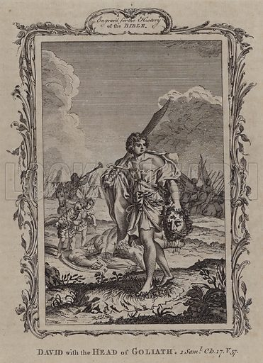 David with the Head of Goliath. Illustration for A New and Complete History of the Holy Bible by John Fleetwood (J Cooke, c 1770).