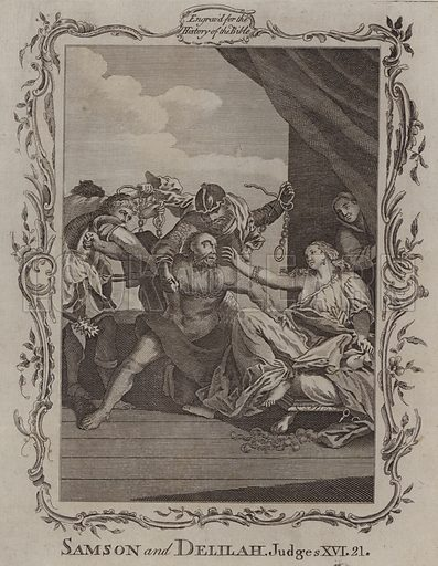Samson and Delilah. Illustration for A New and Complete History of the Holy Bible by John Fleetwood (J Cooke, c 1770).