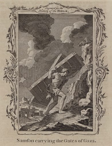 Samson carrying the Gates of Gaza. Illustration for A New and Complete History of the Holy Bible by John Fleetwood (J Cooke, c 1770).
