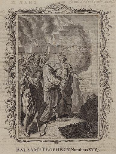 Balaam's Prophecy. Illustration for A New and Complete History of the Holy Bible by John Fleetwood (J Cooke, c 1770).