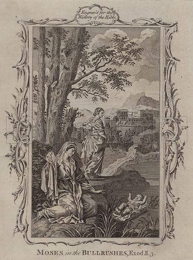 Moses in the Bullrushes. Illustration for A New and Complete History of the Holy Bible by John Fleetwood (J Cooke, c 1770).