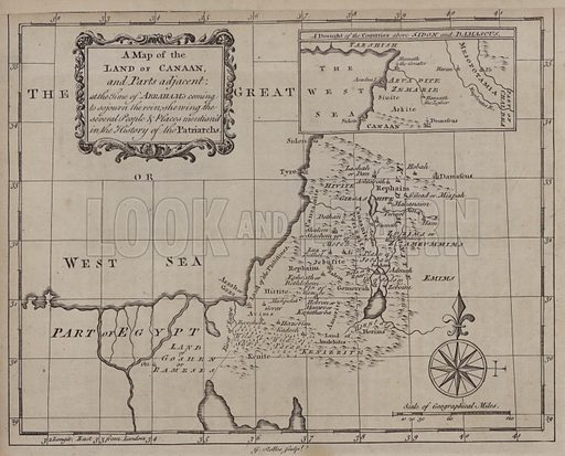 A Map of the Land of Canaan, and Parts adjacent, at the Time of Abraham's coming to sojourn the rein, showing the several People and Places mentioned in the History of the Patriarchs. Illustration for A New and Complete History of the Holy Bible by John Fleetwood (J Cooke, c 1770).