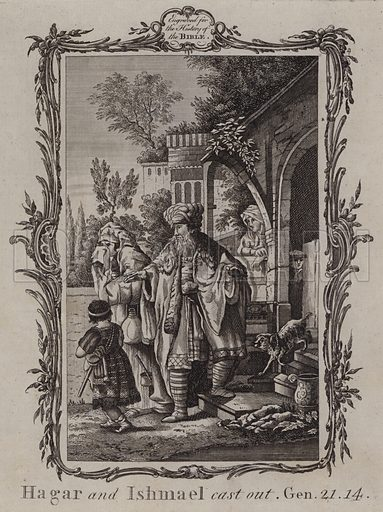 Hagar and Ishmael cast out. Illustration for A New and Complete History of the Holy Bible by John Fleetwood (J Cooke, c 1770).