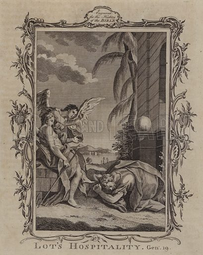 Lot's Hospitality. Illustration for A New and Complete History of the Holy Bible by John Fleetwood (J Cooke, c 1770).